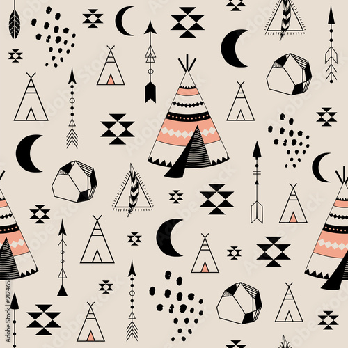 Tribal seamless pattern - 91246522