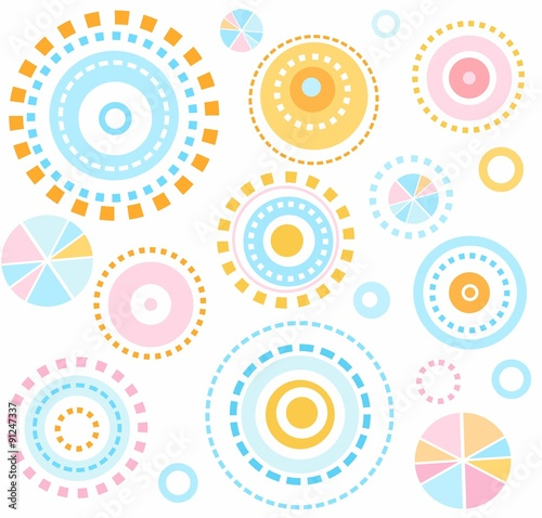 obraz lub plakat Background, geometric, circles, blue, pink, yellow, seamless, kids, white, abstraction.
