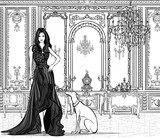 Woman in a palace with a greyhound