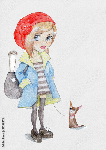 Watercolor little girl in red hat © maddyz