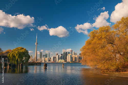 Toronto skyline at fall Poster