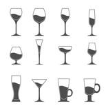 Fototapety Vector icon set of utensil. Wine beer martini whiskey brandy glasses.
