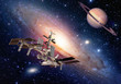 Satellite space station spaceship spacecraft outer planet saturn. Elements of this image furnished by NASA.