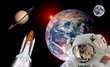Astronaut spaceman isolated helmet shuttle space rocket earth saturn planet moon. Elements of this image furnished by NASA.