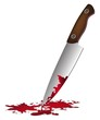 Постер, плакат: realistic bloody knife Knife with blood vector illustration murder weapon