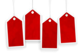 Set of four price red paper tags - 91337761