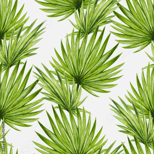 Naklejka Watercolor tropical palm leaves seamless pattern. Vector illustration.