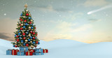 Fototapety Winter landscape with colorful christmas tree