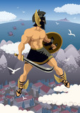 Perseus / Greek hero Perseus flying in his magic sandals. No transparency used. Basic (linear) gradients. poster