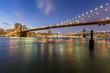 Brooklyn bridge and Manhattan bridge at night