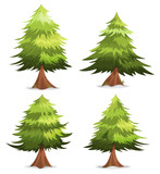 Fototapety Pine Trees And Firs Set