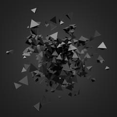 Streszczenie renderowania 3D latających cząstek.