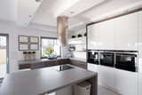 Fototapety Contemporary kitchen in fashionable house