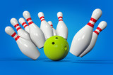 3D Bowling Background. Pins and Ball Isolated Render. Accuracy, target or success concept. poster