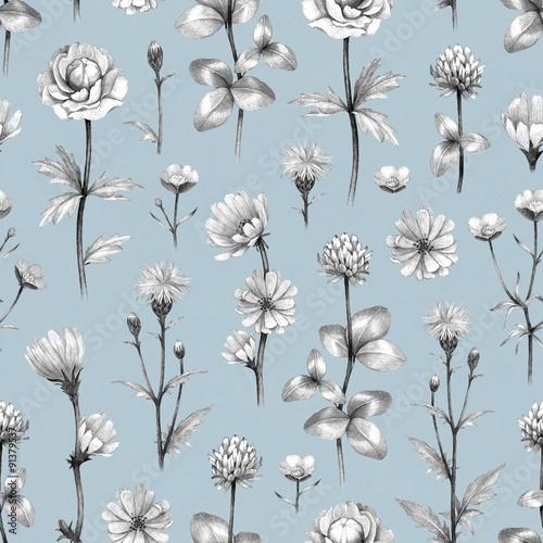 Fototapeta Wild flowers illustration. Seamless pattern
