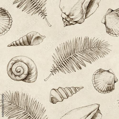 Materiał do szycia Wzór z rysunkami muszelki i liści palmowych