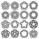 Set of magic knotting circles. Sixteen pentagonal decorative elements with stripes braiding for your logo or monogram frame design. Creative mandalas collection