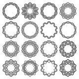 Set of magic knotting circles. Sixteen decagon decorative elements with stripes braiding for your logo or monogram frame design. Creative mandalas collection