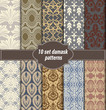 collection of floral patterns for making damask wallpapers, vintage styles, pattern swatches included, - 91385352