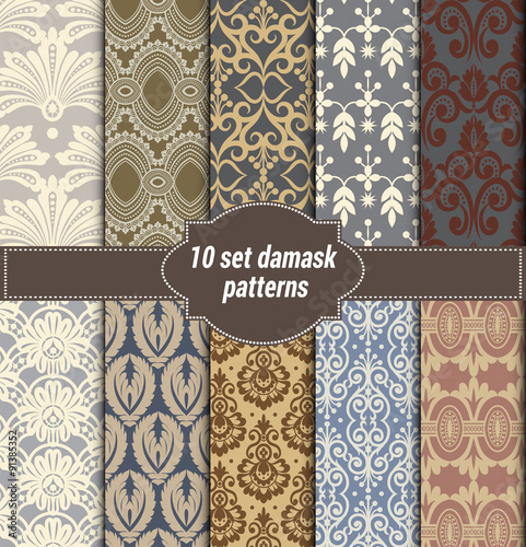 Fototapeta collection of floral patterns for making damask wallpapers, vintage styles, pattern swatches included,