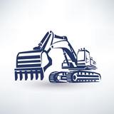 Fototapety excavator symbol, stylized vector silhouette