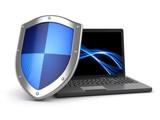Fototapety Laptop and shield