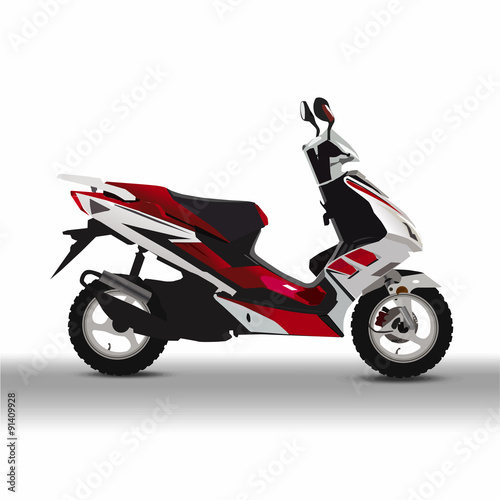 Foto op Canvas Scooter moped vector