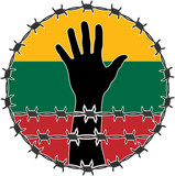 violation of human rights in Lithuania. raster variant poster