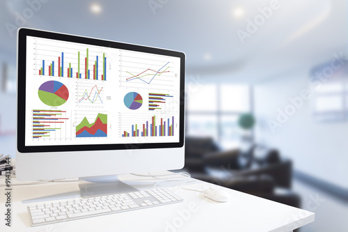 Computer showing analysis chart and graph in office
