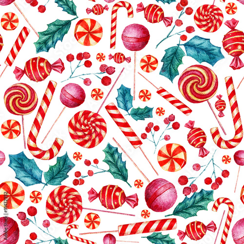 Materiał do szycia Seamless pattern with candies. Christmas background. Watercolor illustration.
