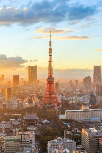 Tuinposter Tokio Tokyo city skyline at sunset in Tokyo