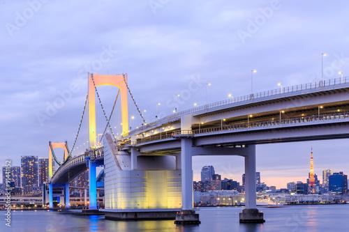 Fototapeta Twilight Tokyo Rainbow bridge in Japan