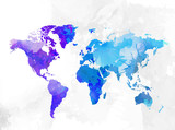 World map watercolor background vector illustration