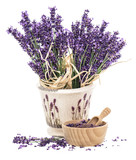 Lavender flowers and wooden mortar with bath salt