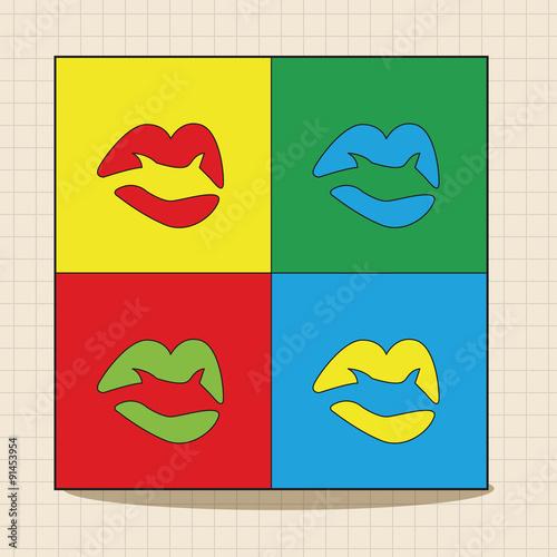 Fototapeta pop art lipstick theme elements