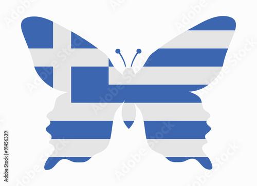 Zdjęcia na płótnie, fototapety, obrazy : greece flag butterfly