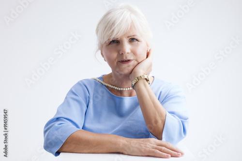 Portrait of attractive senior woman. Poster