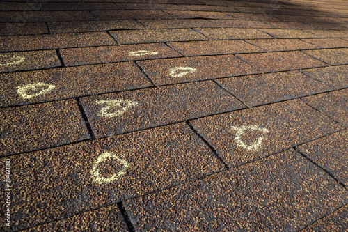 Marked Hail Damage On A Roof