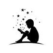 Kid Read Book with Star Silhouette Illustration