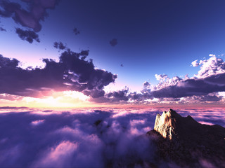 beautiful view above clouds