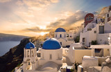 Town at sunset, Santorini, Greece