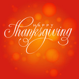 Fototapety Happy Thanksgiving Day. Vector Illustration with Hand Lettered Text  with red background.