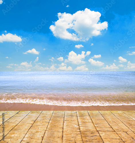 Tropical beach and wooden floor
