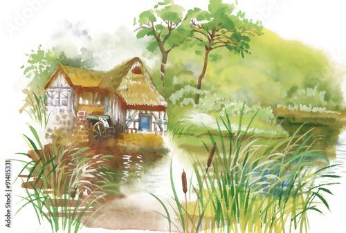 Fototapeta Watercolor rural village in green summer day illustration
