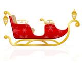 Fototapety red christmas sleigh of santa claus vector illustration