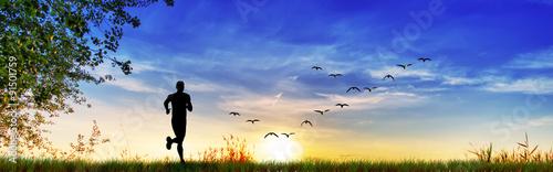 Poster Donkerblauw corriendo por el campo ,