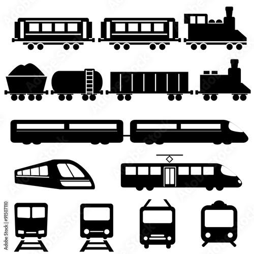 Fototapeta Train and railway transportation icons