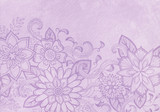 hand drawn flower design, elegant fancy floral doodle pattern with fancy curls and line design elements on pastel purple background paper or parchment, flower art border craft idea