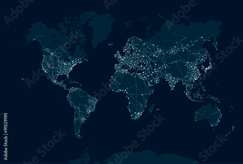 Communications network map of the world - 91529190