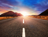 Fototapety beautiful sun rising sky with asphalt highways road in rural sce